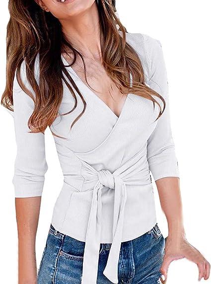 Posional Mujer Blusa Corta Cuello V Camiseta de Mujer Mangas Cortas Camisa Casual de Liso Camisas Mujer Nuevo Blusas para Mujer Vaquera Sexy Gasa Tops Camisetas Mujer Cremallera Manga Corta Blusas: Amazon.es: