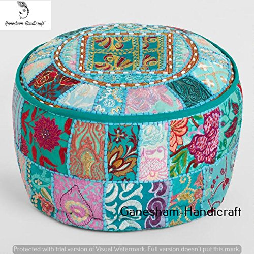 Bohemian Patch Work Floral Ottoman Cover,Traditional Floor/Foot Stool, Christmas Decorative Ethnic Chair Cover,100% Cotton Art Decor Boho Decor Hand Embroidered Floor Cushion Vintage Indian Pouf Cover GANESHAM