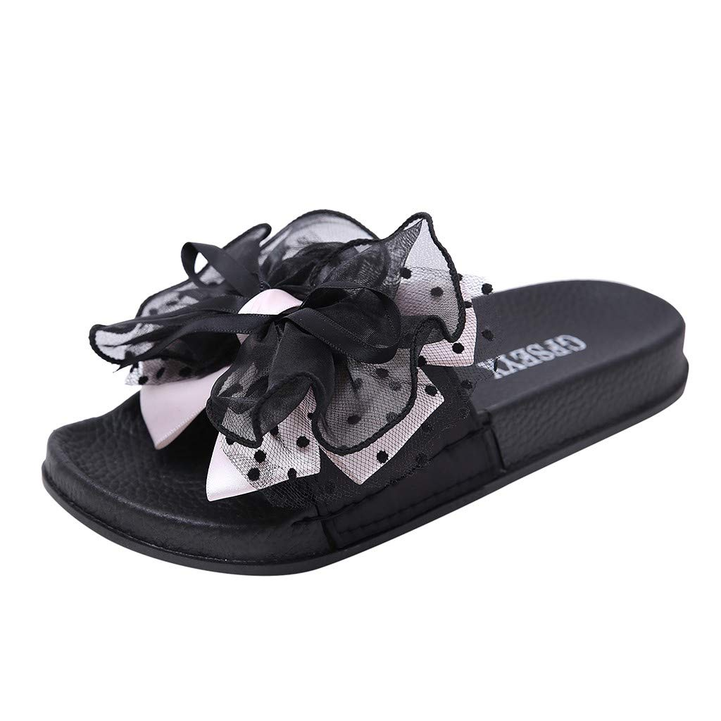 Ladies Bow Knot Non-Slip Shower Sandals,FAPIZI Home Soft Foams Sole Pool Slippers Bathroom Slide Water Shoes Pink