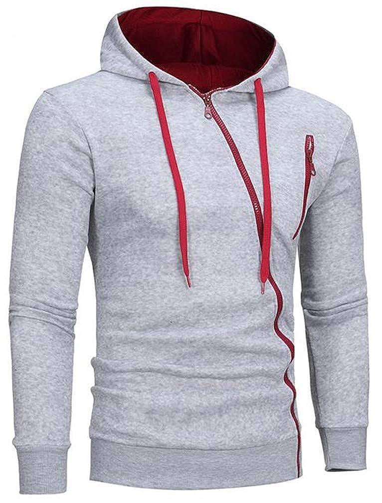 Mocilation Mens Comfortably Drawstring Oblique Zipper Coat Hooded Sweatshirts