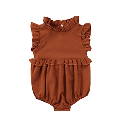 29ed97dad16 Baby Girls Clothes Ruffles Collar Romper Bodysuit Jumpsuit Outfits Summer  Clothes for Infant Toddler Girl (