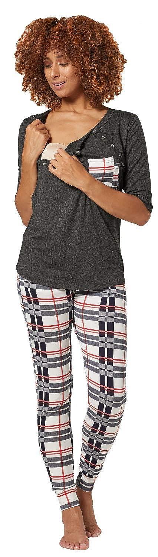 HAPPY MAMA Damen Mutterschaft Nursing 2-teiliger Gedruckter Pyjama L/ässig 1074