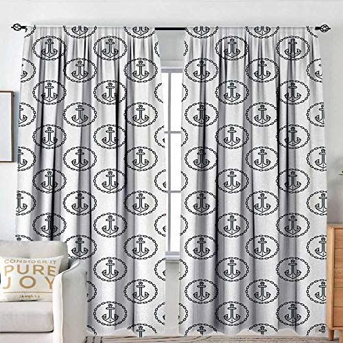 Petpany Pattern Curtains Anchor,Vintage Dark Blue Ship Anchors Framed by Round Chain Borders Marine Design,Dark Blue White,All Season Thermal Insulated Solid Room Drapes 100