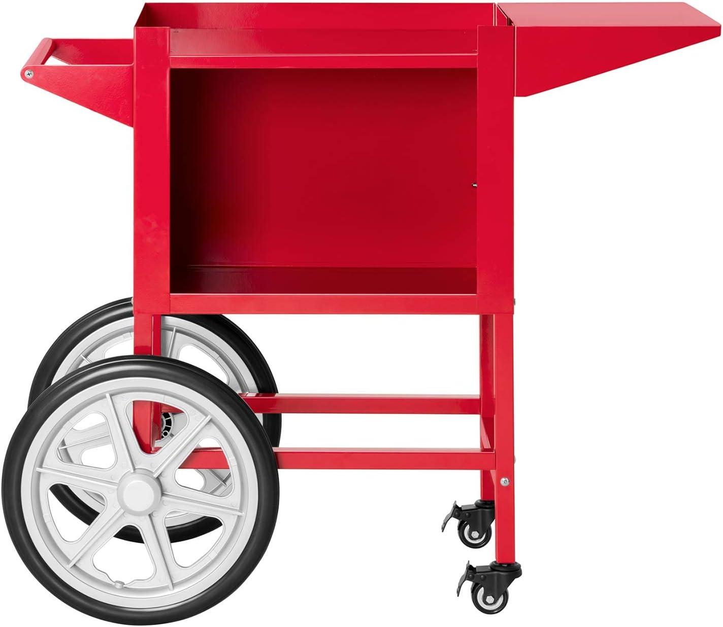 Rouge Vif, Plateaux 37 x 51 cm, Hauteur 95 cm, 2 Freins, Acier Royal Catering Chariot /À Popcorn Pour Machine Professionnelle RCPT-14