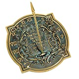 Happiness Sundial, Solid Brass with Verdigris Highlights, 10-Inch Diameter
