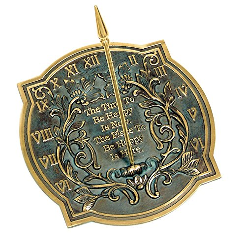Brass Happiness Sundial - NAUTICALMART Happiness Sundial, Solid Brass with Verdigris Highlights, 10-Inch Diameter