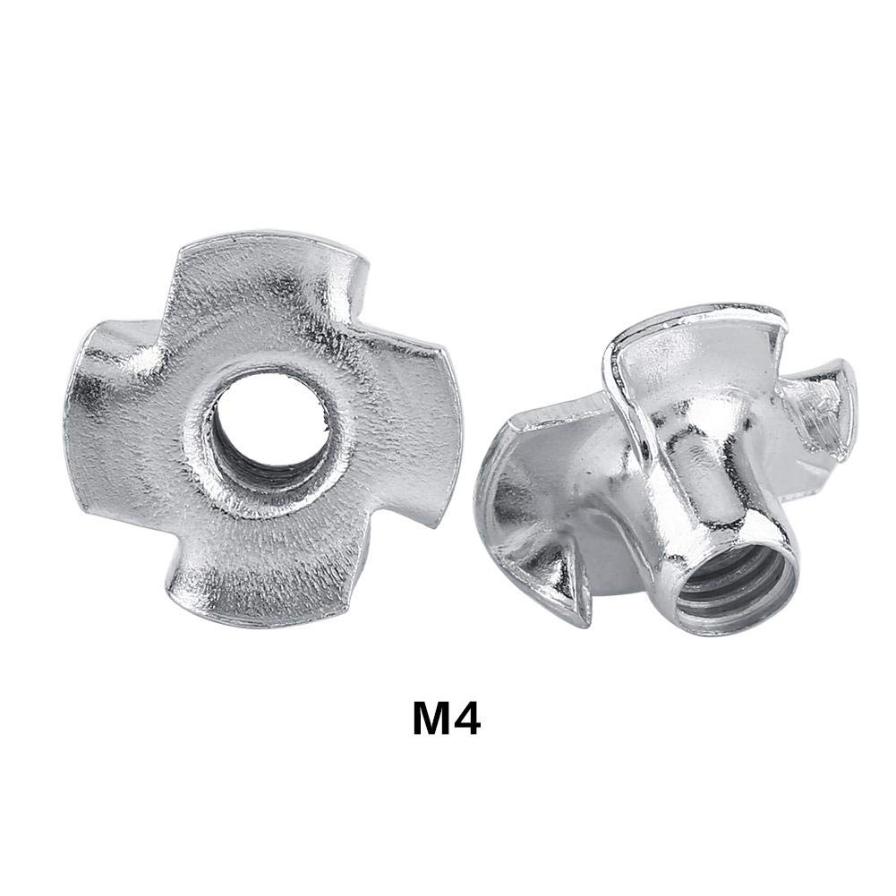 T Nuts Four-Pronged Tee Woodworking Furniture Zinc Plated Carbon Steel (M4(50/Bag))