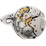 MRCUFF Steampunk Watch Pair Cufflinks in a Presentation Gift Box & Polishing Cloth