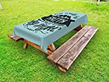 Lunarable Religious Outdoor Tablecloth, We Walk by Faith not by Sight Typography Art with Mountain Hills, Decorative Washable Picnic Table Cloth, 58 X 84 Inches, Dark Sky Blue and Black
