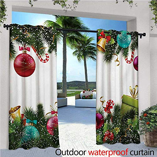 homehot Christmas Indoor/Outdoor Single Panel Print Window Curtain Happy New Year Greeting Celebrations with Holly Garland Artful Design Silver Grommet Top Drape W72 x L96 Green Maroon