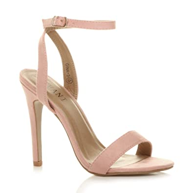 c13c629fbab Ajvani Womens Ladies high Heel Ankle Strap Barely There Strappy Sandals  Shoes Size 3 36