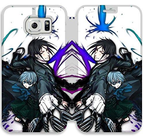 Funda Samsung Galaxy S6 Funda de cuero [Buen regalo bonito regalo] [Black Butler] [Card/Cash Slots] Protectora caja del teléfono para Samsung Galaxy S6 Y4G5EV