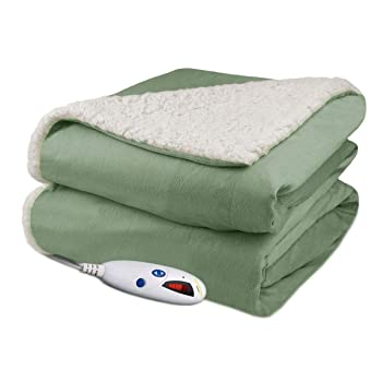 Biddeford Velour Sherpa Throw Electric Blanket