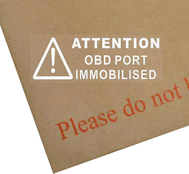 Warn Aufkleber Für Autofenster Mit Englischer Aufschrift Obd Port Immobilised Weiße Schrift 87 X 30 Mm Für Lkw Taxi Bus Anleitung In Englischer Sprache 5 Stück Auto