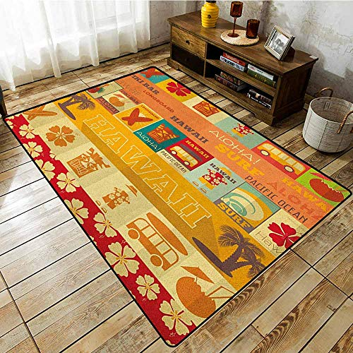 Outdoor Patio Rug,Tiki Bar,Retro Travel Cards Collection Holiday in Hawaii Icons Summer Season Vintage Print,Anti-Slip Doormat Footpad Machine Washable,3'3