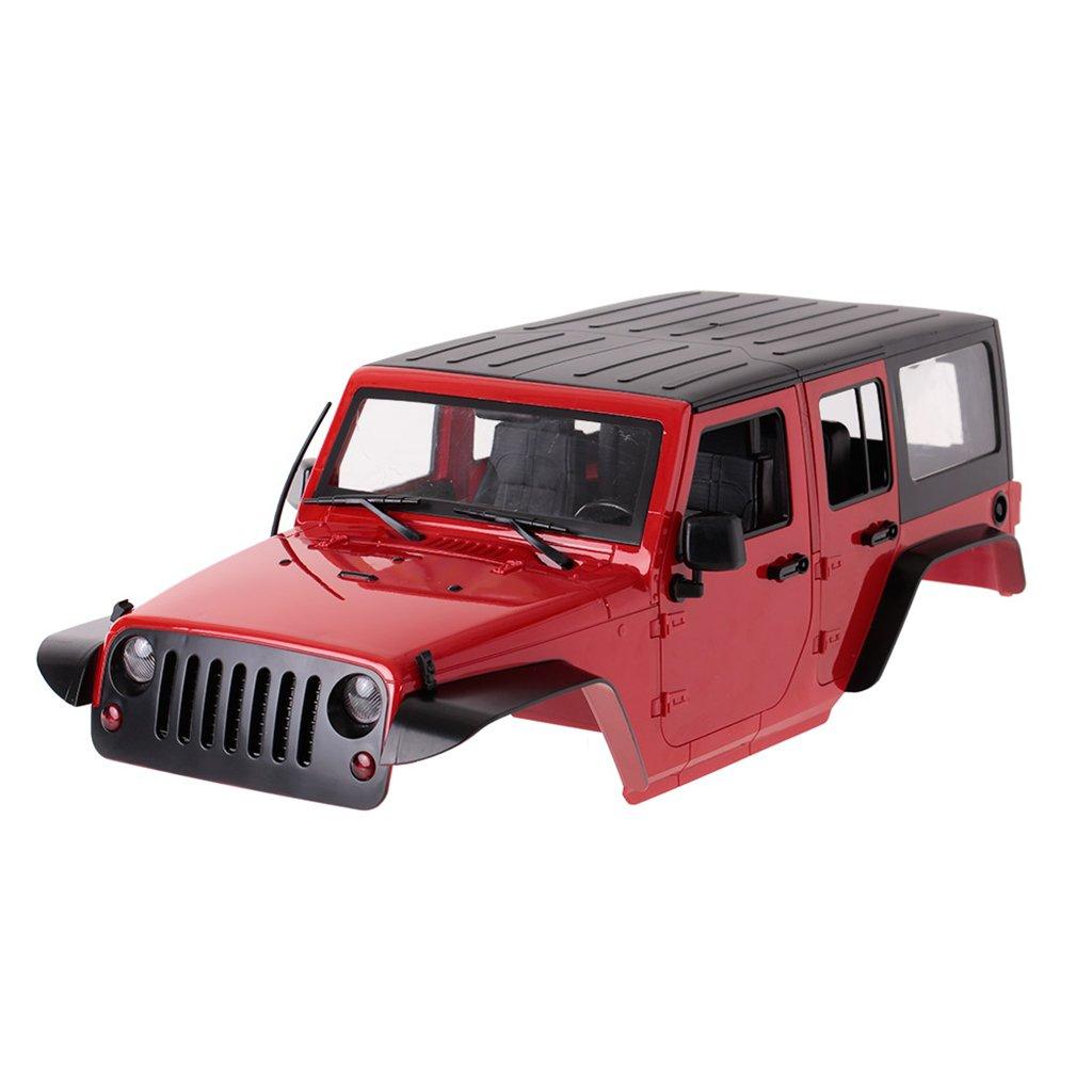 Dabixx RCカーシェル, RCクローラ1/10車体シェルフレームアキシャルSCX10 RC4WD D90ハードプラスチックDIY - 赤 B07KQD5DR6