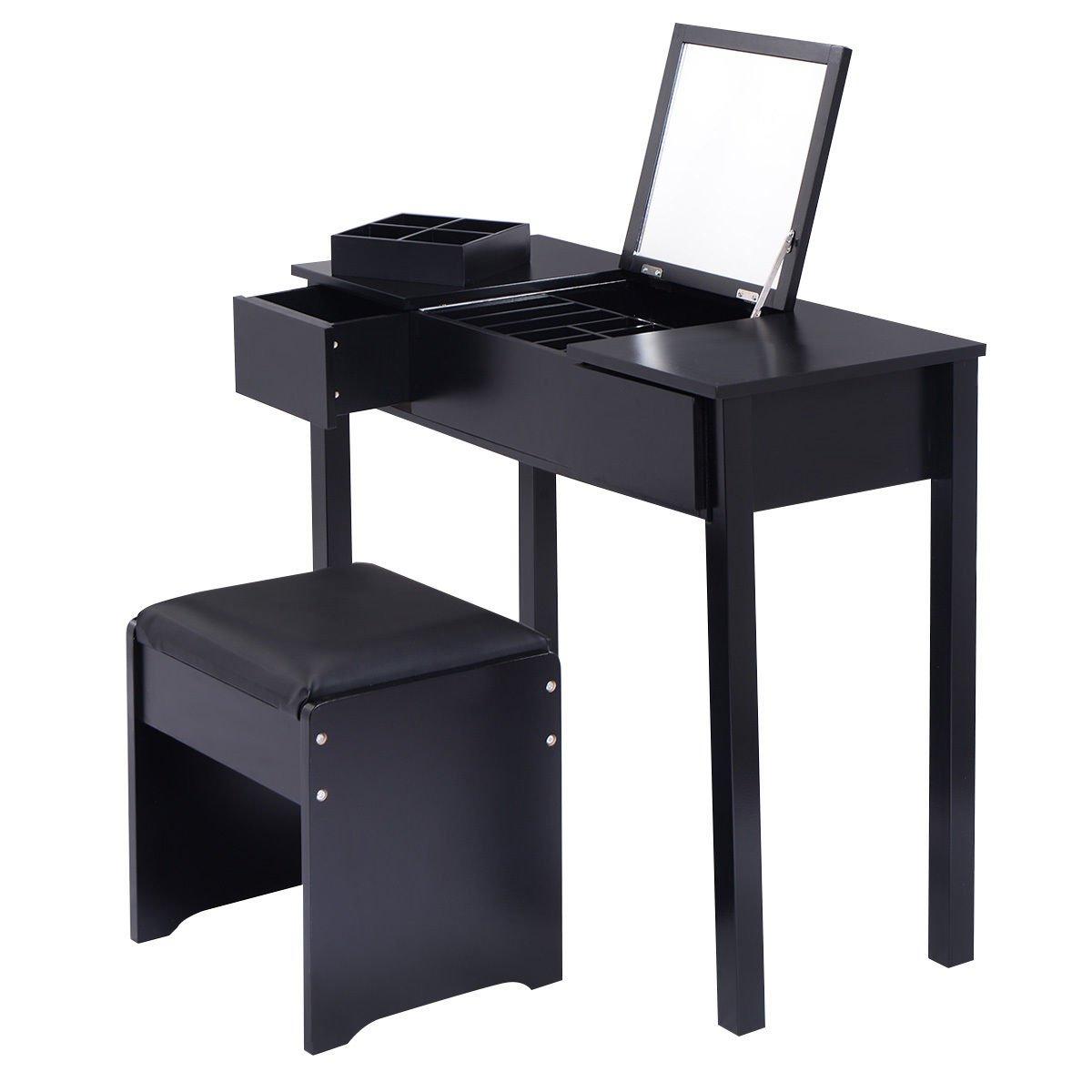 Black Vanity Dressing Mirrored Table Set Bedroom W/Stool &Storage Box Furniture by Allblessings