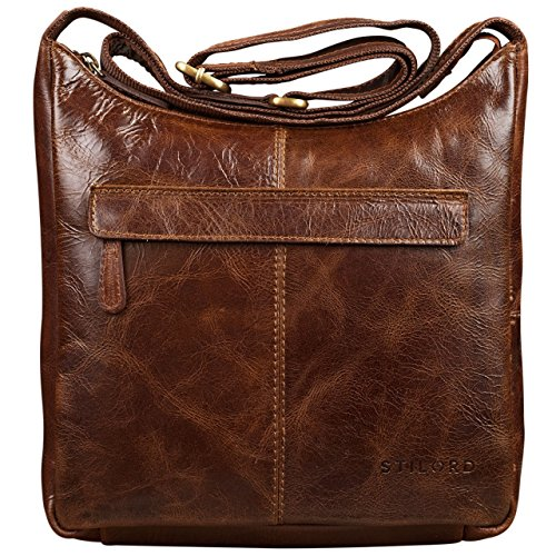 STILORD kleine Lederhandtasche Umhängetasche Vintage Handtasche mit verstellbarem Schulterriemen aus weichem Antik Leder Damen braun