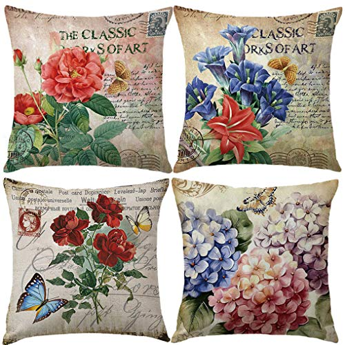 Vintage Rose Flower Throw Pillow Covers With Butterfly Stamp Retro Letter Violet Cushion Cover Set Of 4 Home Decorative Cotton Linen Square Pillow Cases For Sofa Couch 18x18 Inch (Vintage Flower, 18