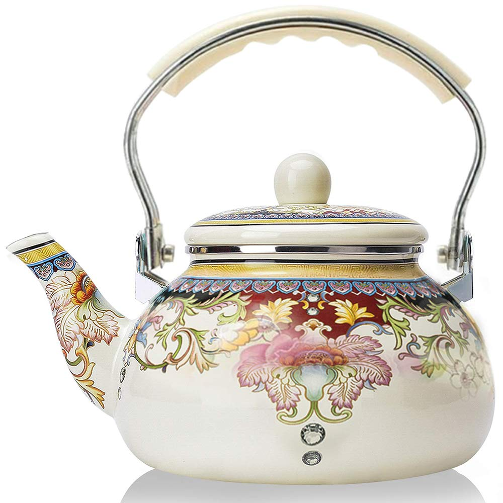 Enamel Teapot floral,Large Porcelain Enameled Teakettle,Colorful Hot Water Tea Kettle pot for Stovetop,Small Retro Classic Design 2.4L, white