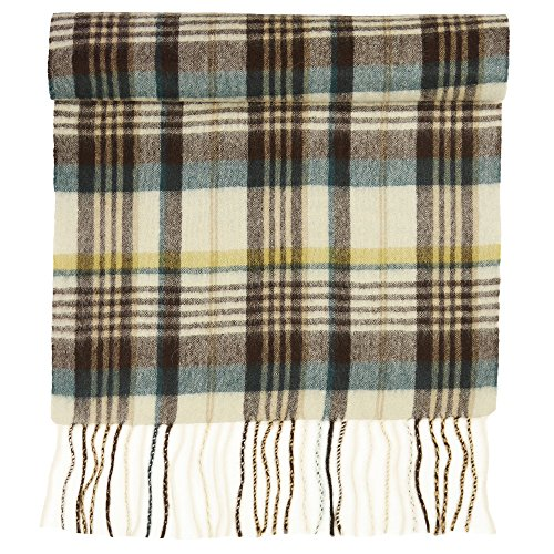 100% Pure Cashmere Scarf for Women, Solid Colors and Plaids, Unisex, Gift Box, Various Sizes, by Candor and Class (Cream Teal Plaid)