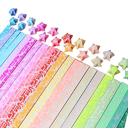 LoveS Origami Stars Papers Package (Glows in the dark), 20 Colors, 600 Sheets