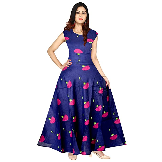 ff013bc48d00 Mudrika Women s Rayon Printed New Fashionable Long Length Semi-Stitched  Fabric  Amazon.in  Clothing   Accessories