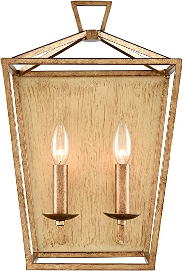 CLAXY Antique Brass Wall Sconce Distressed Metal Brushed Lantern Cage Wall Lights-2 Light