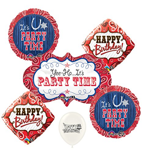 Western Bandana & Blue Jeans Party Time Balloons
