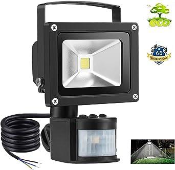 10W Foco con Sensor Movimiento Proyector LED Exterior Iluminación ...