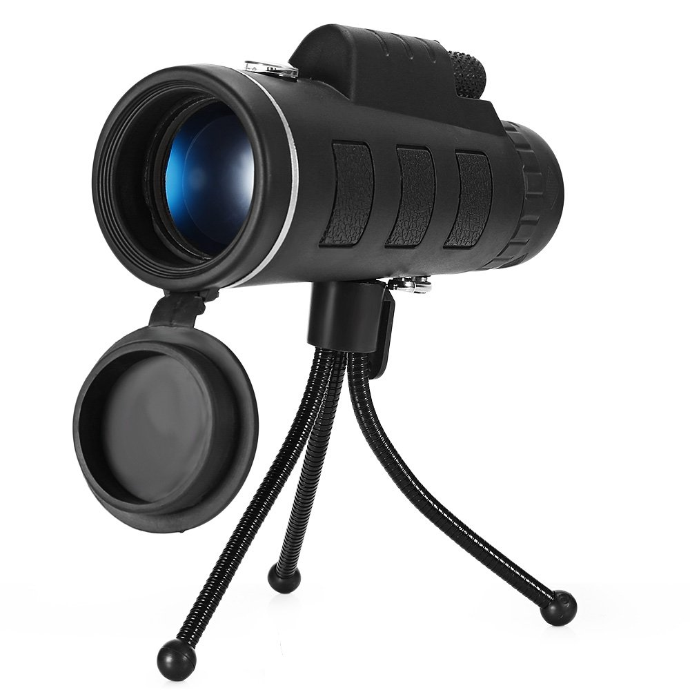 40X60 Monocular Telescope HD Prism Scope with Compass Phone Clip Tripod