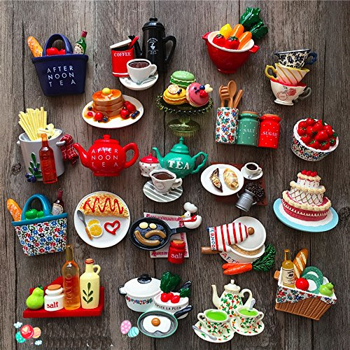 Miss.AJ 5 pcs Afternoon Tea Set 3D Resin Fridge Magnets,Kitchen Magnets Fun Magnets Decorative Magnets Cute Magnets Coffee Set/ Tea Set/ Fruit/ Cake/ Ice Cream Magnets ( Random Color )