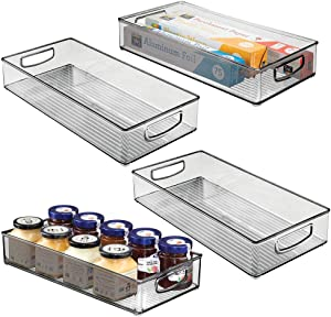 "mDesign Plastic Stackable Kitchen Pantry Cabinet, Refrigerator or Freezer Food Storage Bin with Handles - Organizer for Fruit, Yogurt, Snacks, Pasta - BPA Free, 16"" Long, 4 Pack - Smoke Gray"