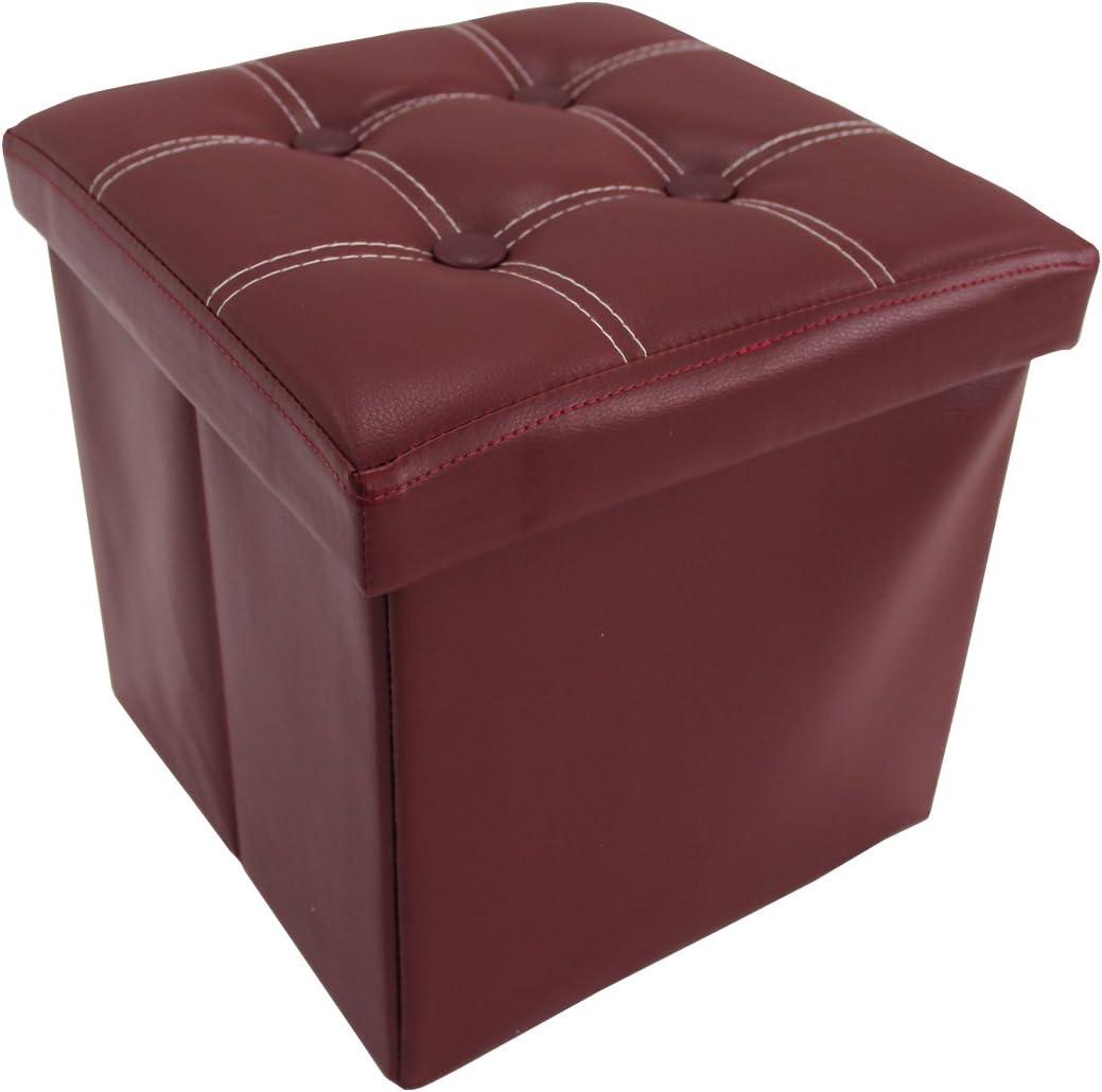 Pouf Contenitore Bordeaux Quadrato salvaspazio HxLxP Rebecca Mobili Puffo Rosso Misure 29 x 31 x31 cm Imbottito RE6157 in Ecopelle - Art
