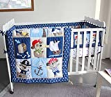 NAUGHTYBOSS Baby Bedding Set Cotton 3D Embroidery Pirates Of the Caribbean Quilt Bumper Bedskirt Fitted 7 Pieces Blue