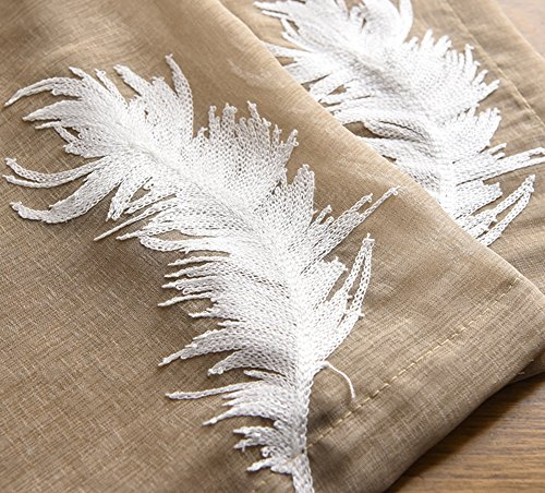 Panel 84l (Vintage Fine Feather Embroidered Sheer Curtain Rod Pockets Top Window Decortion Drape Voile Panel For Bedroom Kichen Room and Living Room(1 Panel, W 52 x L 84 inch, Brown))