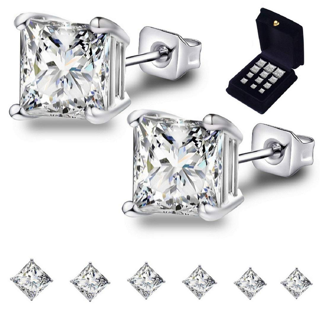 Anni Coco 18k White Gold Plated Stainless Steel Square Princess Cut Clear Cubic Zirconia Stud Earrings Set, 3mm-8mm 6 Pairs by Anni Coco