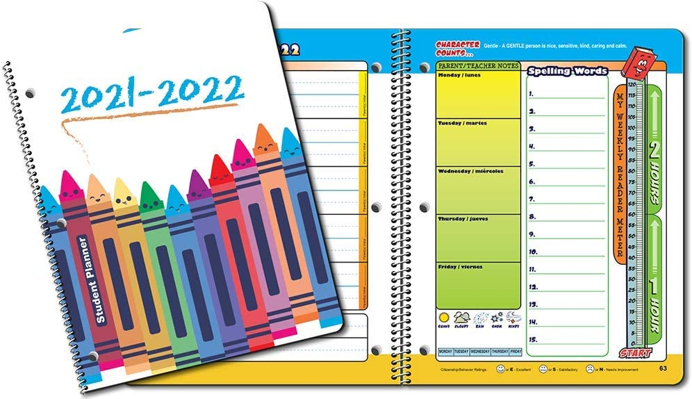 Dated Primary School K-2nd Student Planner for Academic Year 2021-2022- Jostens Planner Brand- Sold in Packs of 15. (8-1/2