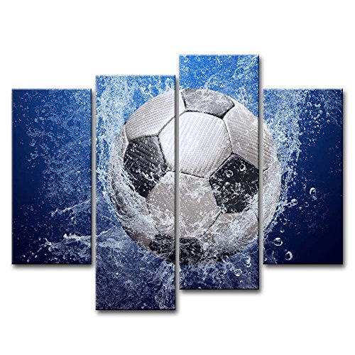 Blue 4 Piece Wall Art Painting Soccer In Water Pictures Prints On Canvas Abstract The Picture Decor Oil For Home Modern Decoration Print