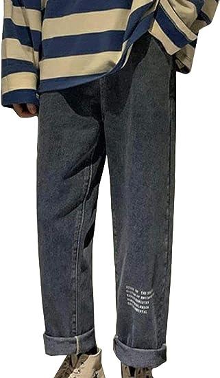 (BaLuoTe)デニムパンツ メンズ ロングパンツ 秋 冬 ゆったり ロング メンズ ジーンズ ストレート 9分丈 ジーンズ デニム ファスナー メンズ パンツ 通勤 通学 ボトムス カジュアルパンツ