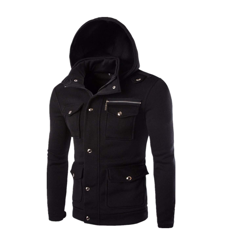 Han Shi Hoodies, Men Fashion Pocket Button Coat Jacket Sweater Swearshirt Outwear Tops (M, Black) by Han Shi