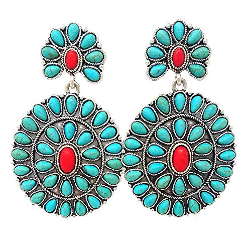 Western Concho Oval Turquoise Post Earring (Turquoise & Coral)