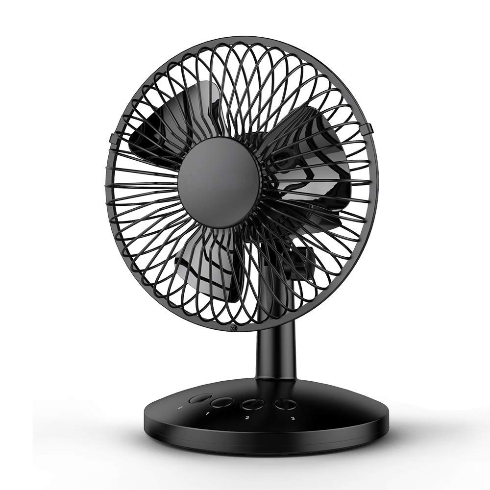 USB Desk Fan,Funme Oscillating Desk Fan Floor Fan 3 Speed Shake Head Mini Small Table Fan Electric Automatic Personal Portable Cooling Fan Quiet Brushless Fan for Home Office Travel BBQ Campin(Black)