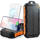 Solar Charger 30000mAh Solar Power Bank with Dual USB & Type-C Port Inputs | Qi Wireless Charger with LED Flashlights and Bui