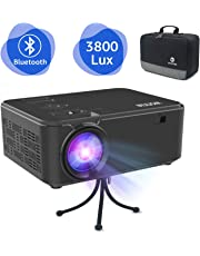 WONNIE Mini projector with 3800 Lumens, Video Bluetooth Portable Projector Support Full HD 1080P and 170'' Display, Compatible with Chromecast, Fire Stick, PS4, Xbox, Laptop,HDMI, VGA and USB