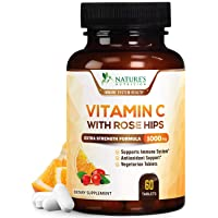 Vitamin C Supplement Extra Strength Immune System Support 1000mg - VIT C Chewable Supplement with Rose Hips - Made in USA - Best Ascorbic Acid Antioxidant Support for Men and Women - 60 Tablets