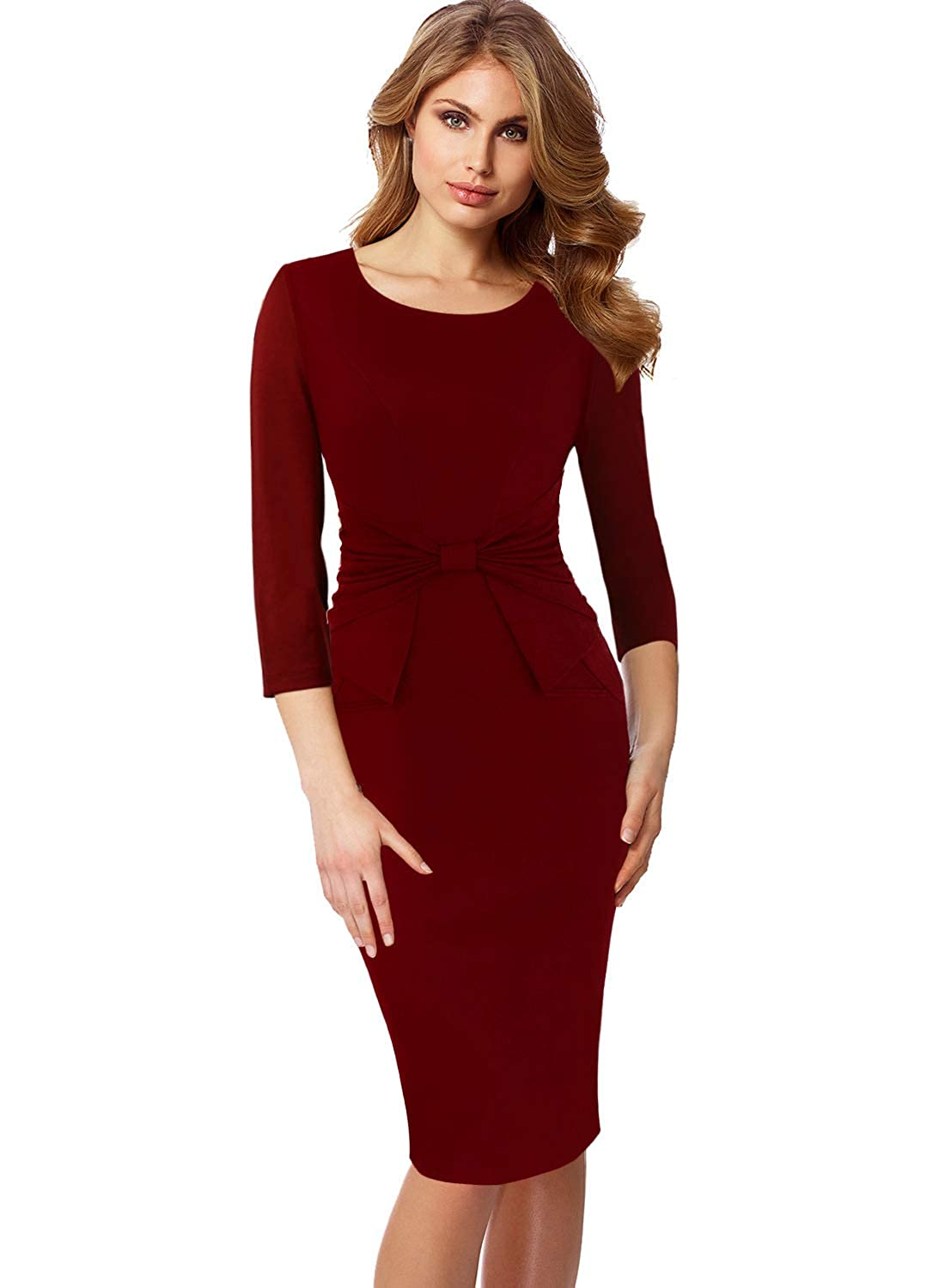 Dark Red 3 4 Sleeve VFSHOW Womens Pleated Bow Wear to Work Business Office Church Sheath Dress