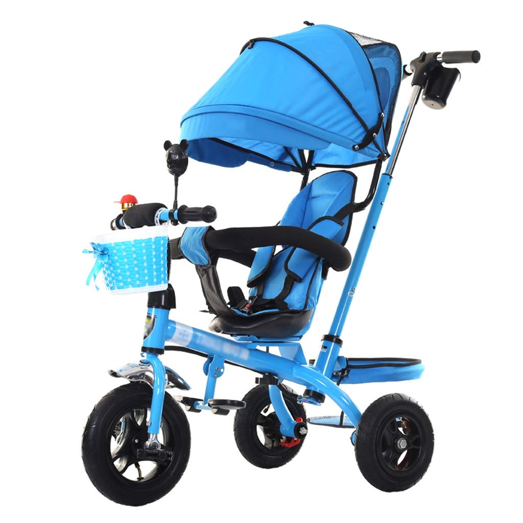 Carrello per passeggini per passeggini da 1 a 6 Anni Triciclo per Bambini Bike   Bracciolo Regolabile   Sedile Girevole   Frizione   Imbracatura di Sicurezza   Freni (Blu)