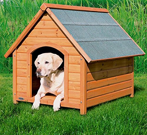 M (88 x 77 x 82 cm (L x W x H)) Pine Weather Resistant Dog Kennel Pitched Roof Good Air Circulation Made From A Stained Pine Wood (M (88 x 77 x 82 cm (L x W x H)))