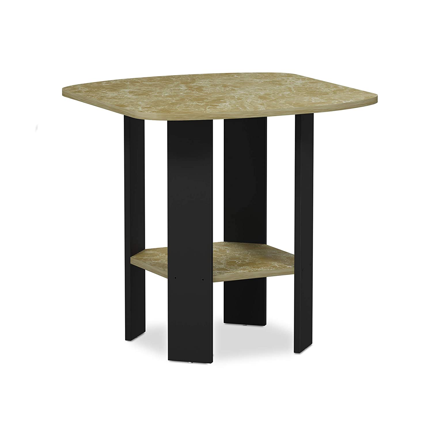 Brown Faux Marble 1 End Table Furinno 11179DWN Simple Design Coffee Table, Dark Walnut
